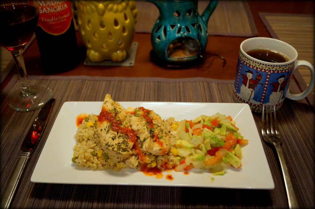 Arroz con pollo with brown rice