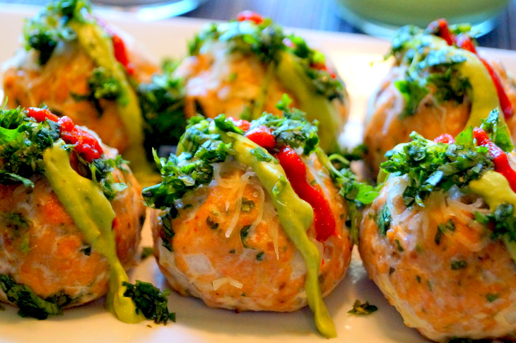 Baked Salmon Meatballs with Creamy Avocado Sauce recipe